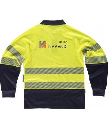 Polo bicapa de alta visibilidad de manga larga con cintas segmentadas color amarillo flúor y marino