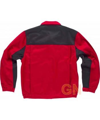 Cazadora combinada multibolsillos muy gruesa rojo/negro