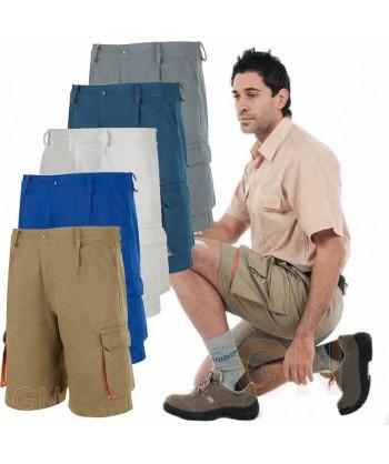 Pantalón bermuda combinado de algodón
