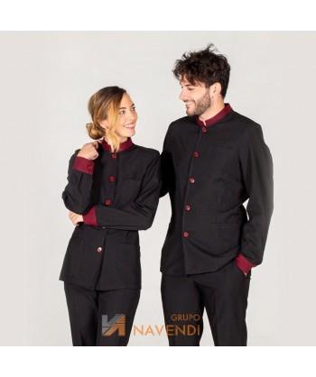 Chaqueta de hostelería para mujer cuello mao color negro/burdeos