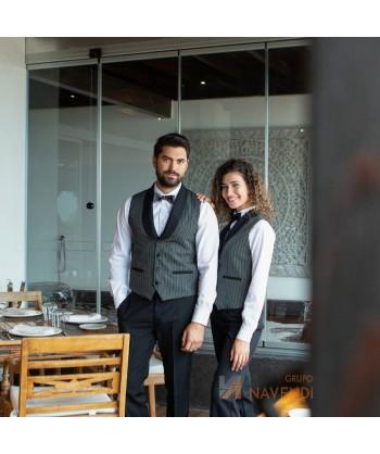 Chaleco de camarera a raya campera con cuello smoking