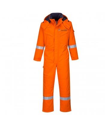 Buzo ignífugo acolchado y antiestático con capucha color naranja