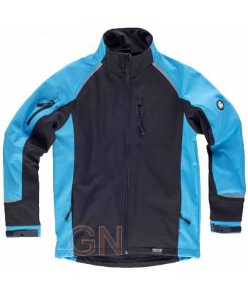 Chaqueta con tejido Softshell de triple capa negra/azul fluor