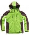 Chaqueta con tejido Softshell con capucha verde lima/marrón