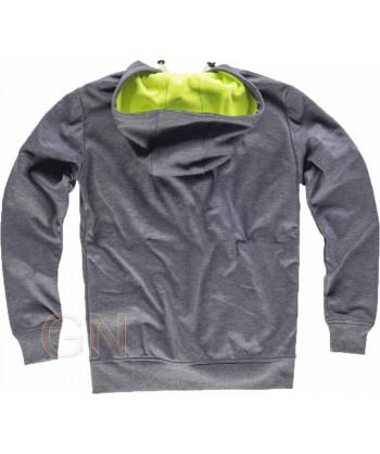 Sudadera softshell triple capa con capucha gris/amarillo fluor