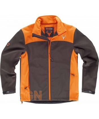 Cazadora softshell especial caza marrón /naranja A.V.