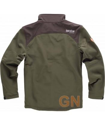 Cazadora softshell sin capucha, especial caza verde caza/marrón