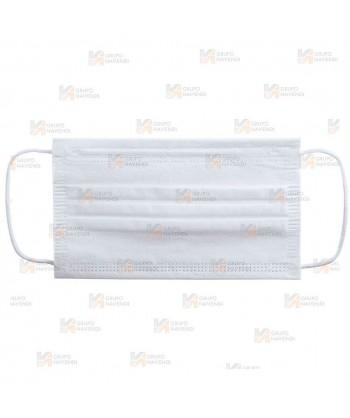 Mascarilla higiénica de tres capas de color blanco para el COVID-19