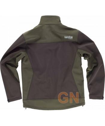 Cazadora softshell bicolor sin capucha, especial caza marrón/verde caza