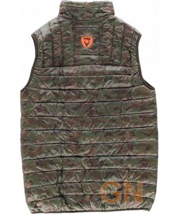Chaleco acolchado con tejido de camuflaje especial caza.