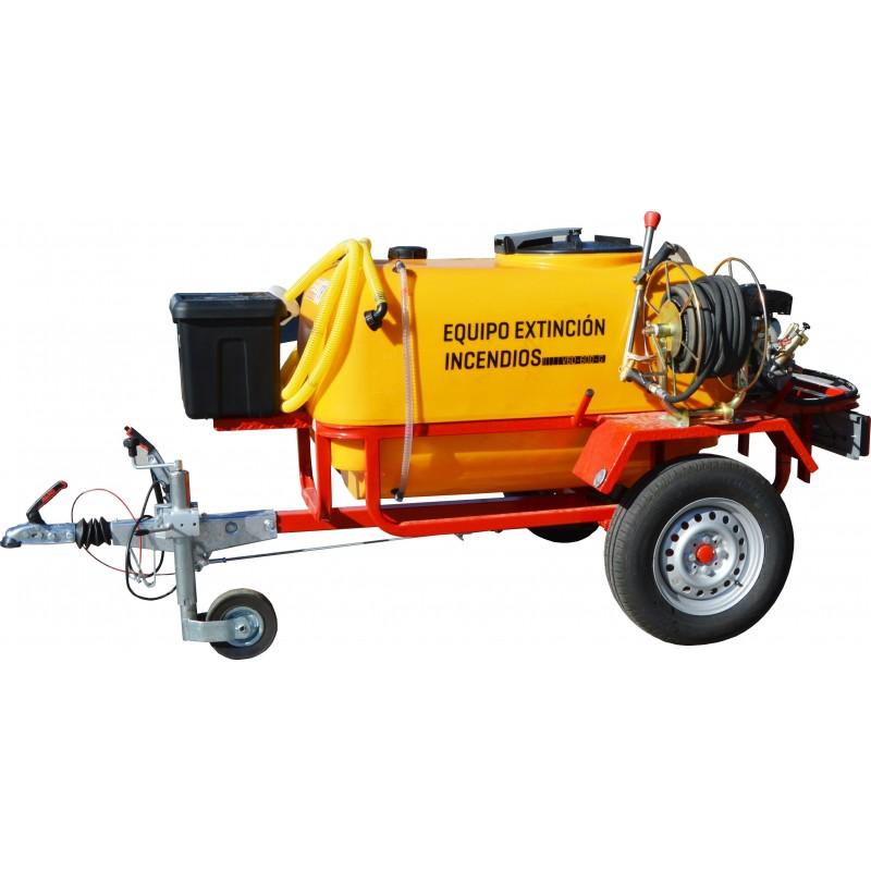 Remolque contra incendios con ruedas tipo turismo y bomba de alta presión