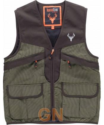 Chaleco para pesca tipo safari en tejido Oxford verde/marrón