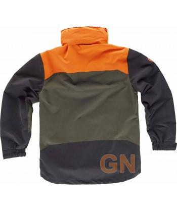Parka impermeable tricolor especial caza o pesca verde caza/negro/naranja A.V.