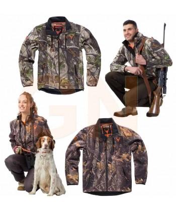 Cazadora softshell de camuflaje sin capucha, especial caza