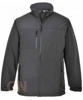 Chaqueta softshell triple capa grandes tallas color gris oscuro