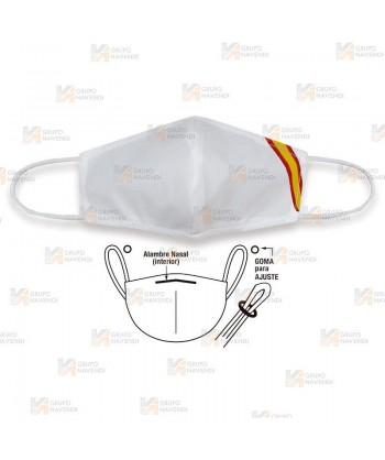 Mascarilla higiénica reutilizable con y sin bandera de España para adultos color blanco