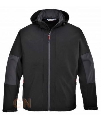 Chaqueta con tejido Softshell de triple capa y capucha negra