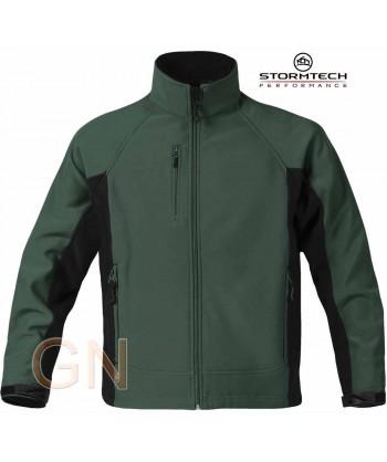 Cazadora softshell Stormtech com membrana color verde bosque/negro