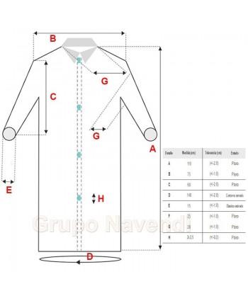 Medidas de la bata protección en TST de polipropileno cierre velcro y sin bolsillos