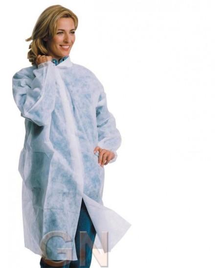 Bata protección en TST de polipropileno cierre velcro y sin bolsillos color blanca