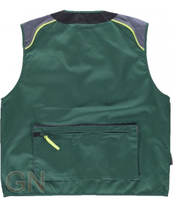 Chaleco combinado multibolsillos tipo reportero color verde/gris oscuro