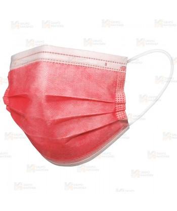 Mascarilla higiénica de tres capas de color rojo para el COVID-19