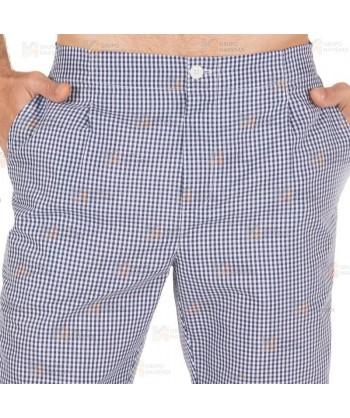 Pantalón unisex de cocina vichy cuadritos blancos y marino