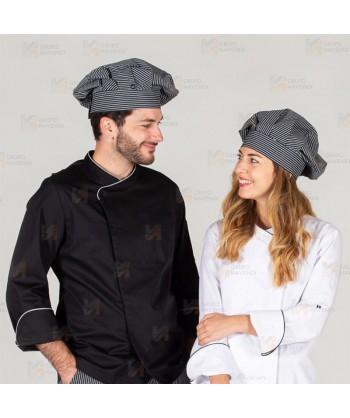 Gorro unisex tipo champiñón para cocina a rayas grises