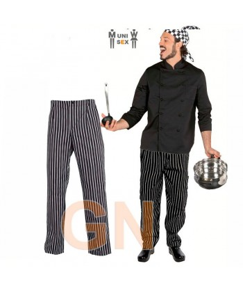 Pantalón de cocina unisex de rayas con cremallera y bolsillos