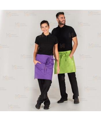 Delantal corto liso de hostelería con 2 bolsillos