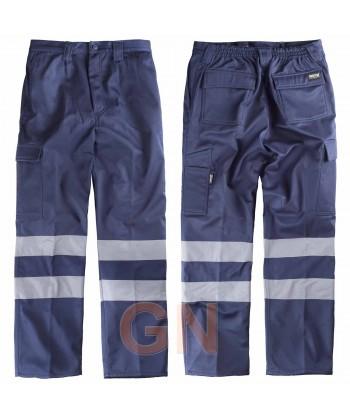 Pantalón multibolsillos colores marino y gris con forro polar y cintas reflectantes