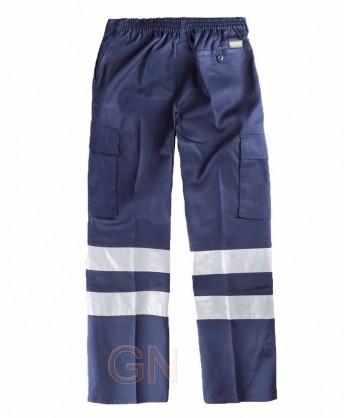 Pantalón multibolsillos de algodón color azul marino con cintas reflectantes