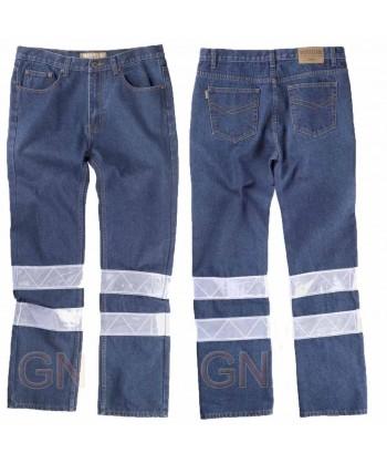 Pantalones vaquero con dos cintas reflectantes