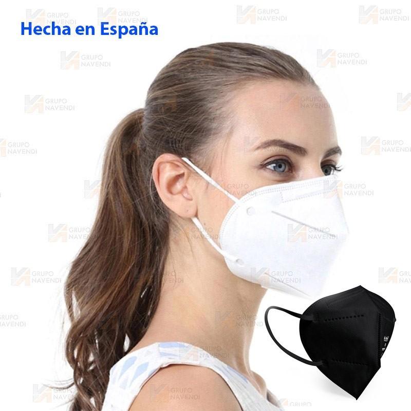Mascarilla autofiltrante de protección y seguridad FFP2 con 5 capas color blanco y negro Hecha en España