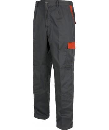 Pantalón multibolsillos con refuerzos muy grueso y resistente gris rojo