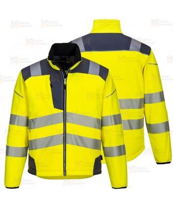 Softshell bicolor en alta visibilidad con triple capa color amarillo flúor/gris oscuro