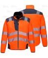 Softshell bicolor en alta visibilidad con triple capa color naranja flúor/gris oscuro