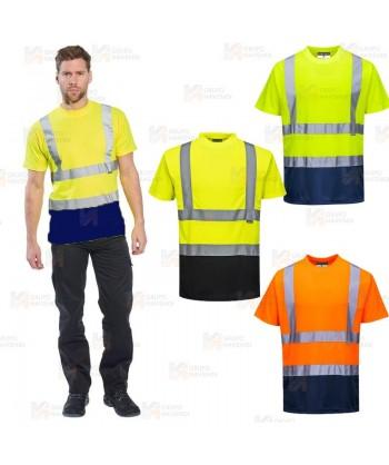 Camiseta bicolor alta visibilidad transpirable amarillo flúor/marino