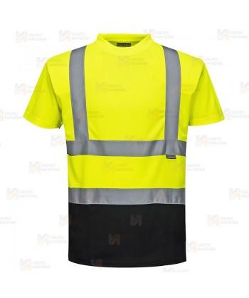 Camiseta bicolor alta visibilidad transpirable amarillo flúor/negro