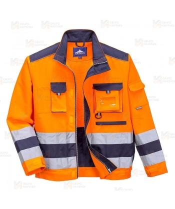 Cazadora bicolor de alta visibilidad color naranja flúor y marino