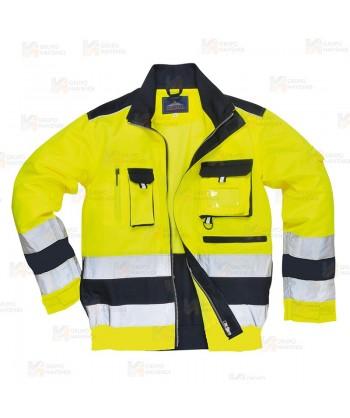 Cazadora bicolor de alta visibilidad color amarillo flúor y marino
