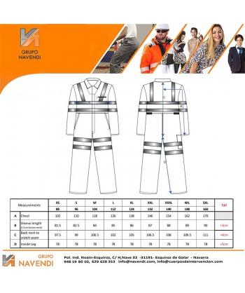 Buzo monocolor en naranja alta visibilidad múltiples cintas reflectantes