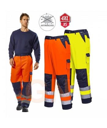 Pantalón bicolor de alta visibilidad con tejido antimanchas