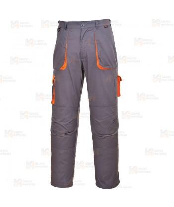 Pantalón combinado multibolsillos color gris/naranja