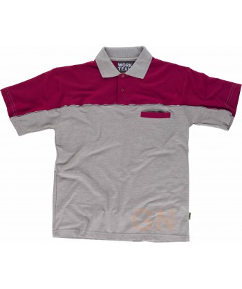 Polo bicolor de manga corta con bolsillo color gris/burdeos