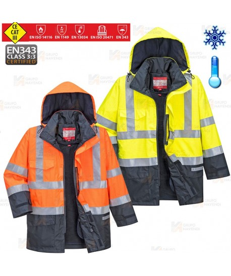 Parka impermeable ignífuga, multinorma y desmontable (ARC 3)