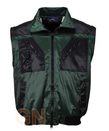 Cazadora bicolor con mangas desmontables verde/negra