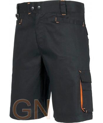 Pantalón bermuda multibolsillos con detalles en alta visibilidad negro/naranja fluor