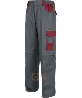 Pantalón desmontable con refuerzos y multibolsillos gris burdeos
