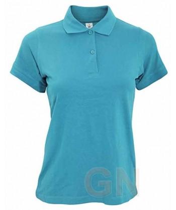 Polo B&C de algodón de manga corta para mujer color azul atoll